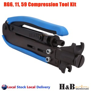 RG6 RG11 RG59 F Type Compression Coax Coaxial Cable Crimper Stripper Tool Kit
