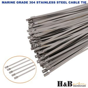 100 PCS 4.6mm X 300mm 304 Marine Grade Stainless Steel Cable Ties Zip