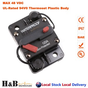 120A AMP Circuit Breaker Dual Battery IP67 Waterproof 12V 24V Fuse Reset